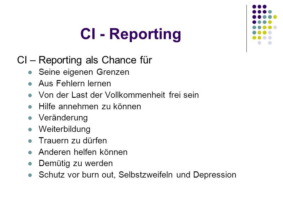 CI - Reporting CI – Reporting als Chance für Seine eigenen Grenzen Aus Fehlern lernen Von der Last der Vollkommenheit frei sein Hilfe annehmen zu könn