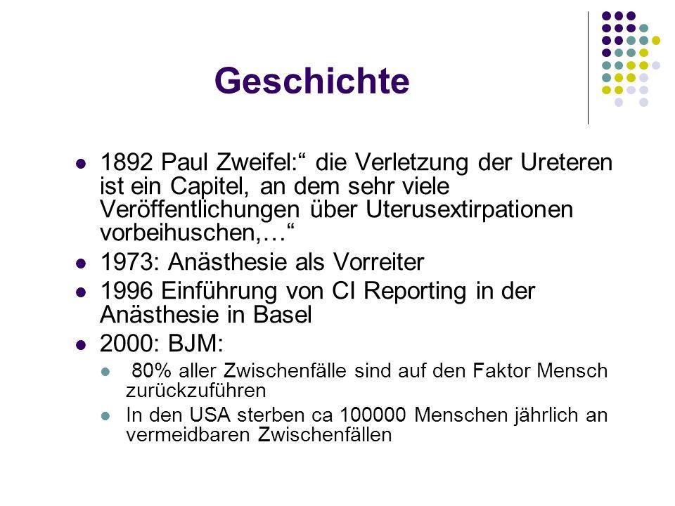 Geschichte 1892 Paul Zweifel: die Verletzung der Ureteren ist ein Capitel, an dem sehr viele Veröffentlichungen über Uterusextirpationen vorbeihuschen