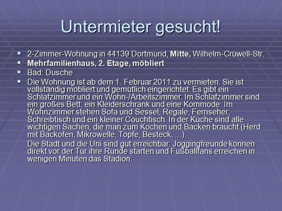 Untermieter gesucht.2-Zimmer-Wohnung in 44139 Dortmund, Mitte, Wilhelm-Crüwell-Str.