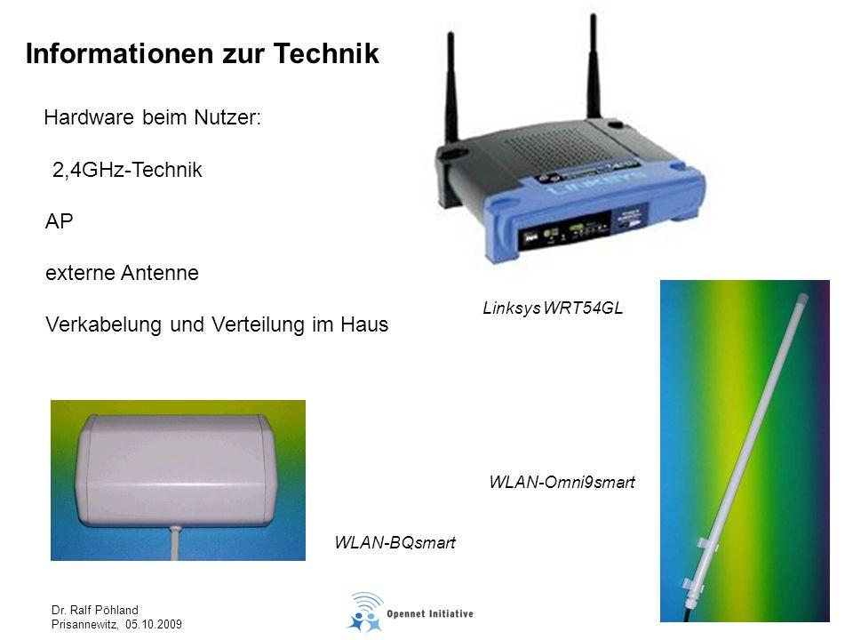 Dr. Ralf Pöhland Prisannewitz, 05.10.2009 Hardware beim Nutzer: AP externe Antenne Verkabelung und Verteilung im Haus Linksys WRT54GL WLAN-Omni9smart