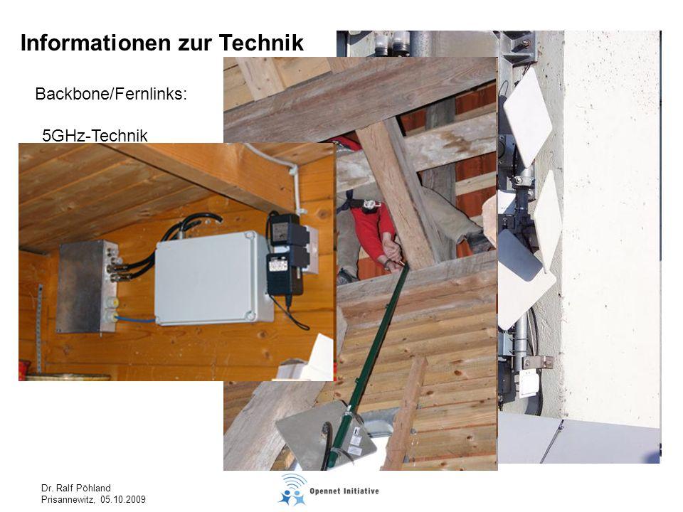 Dr. Ralf Pöhland Prisannewitz, 05.10.2009 Backbone/Fernlinks: Informationen zur Technik 5GHz-Technik