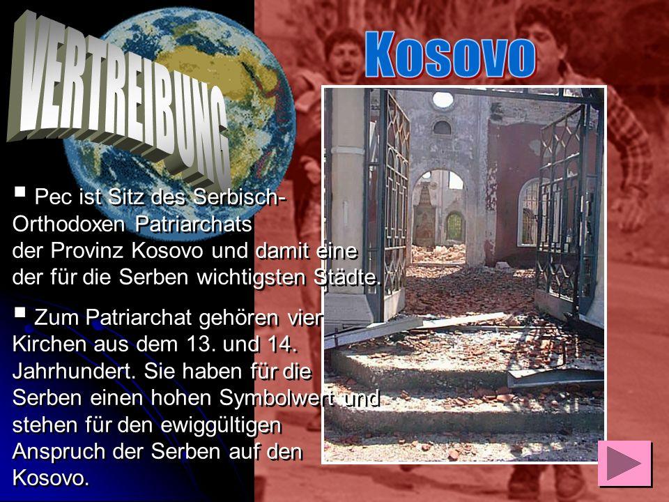 Nach der Vertreibung wurde Pec/Pejë systematisch zerstört, bei der Moschee beginnend bis in die Außenbezirke, nahezu Haus für Haus und Straßenzug für