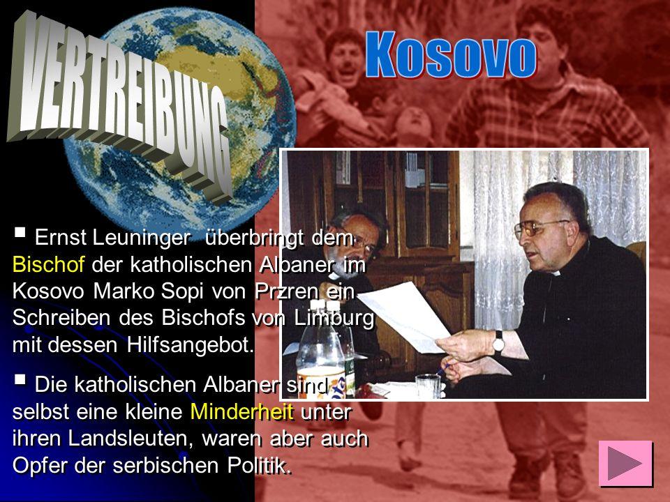 Ernst Leuninger, Bosnien- und Kosovobeauftragter des Bischofs von Limburg unternahm vom 24. – 29. September 1999 seine 5. Reise in den Kosovo. In sein