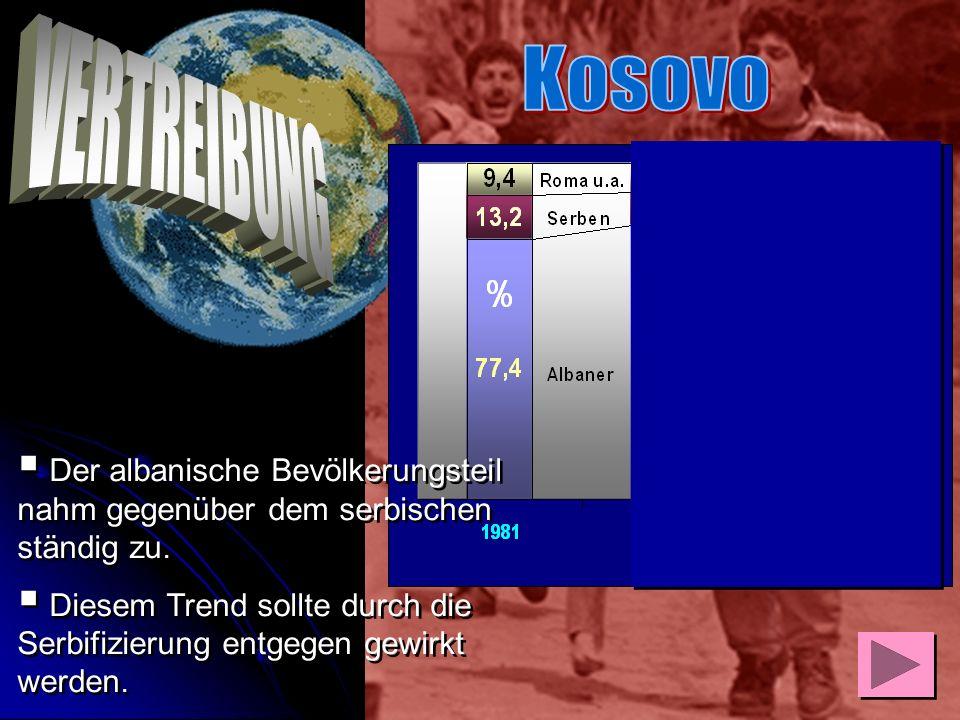 Bis 1989 war der zu mehr als 90 Prozent von Albanern bewohnte Kosovo ein autonomes Gebiet im damaligen Jugoslawien. Sofort nach seiner Machtübernahme