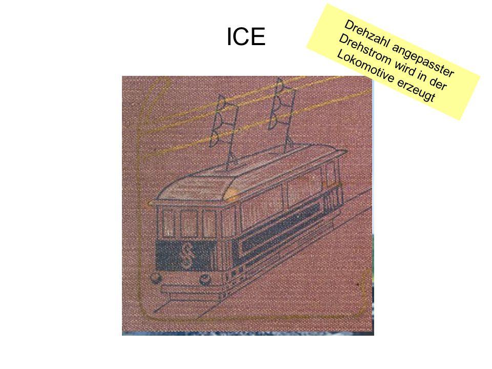 ICE Drehzahl angepasster Drehstrom wird in der Lokomotive erzeugt