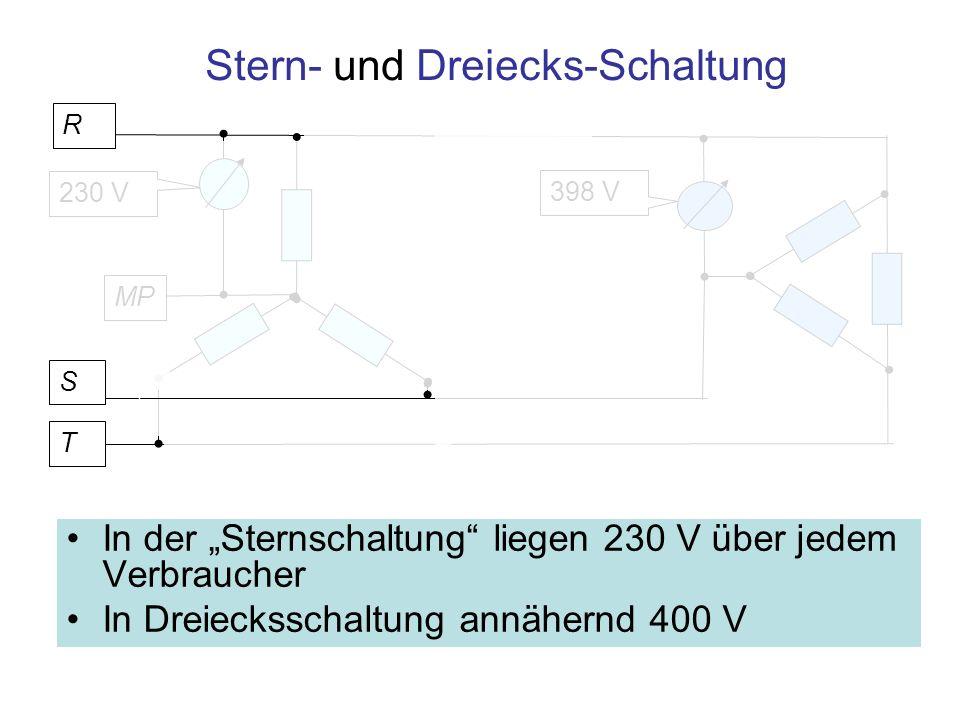 230 V Stern- und Dreiecks-Schaltung In der Sternschaltung liegen 230 V über jedem Verbraucher In Dreiecksschaltung annähernd 400 V 398 V T MP S R