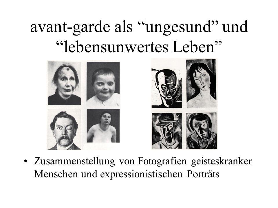 Zusammenstellung von Fotografien geisteskranker Menschen und expressionistischen Porträts