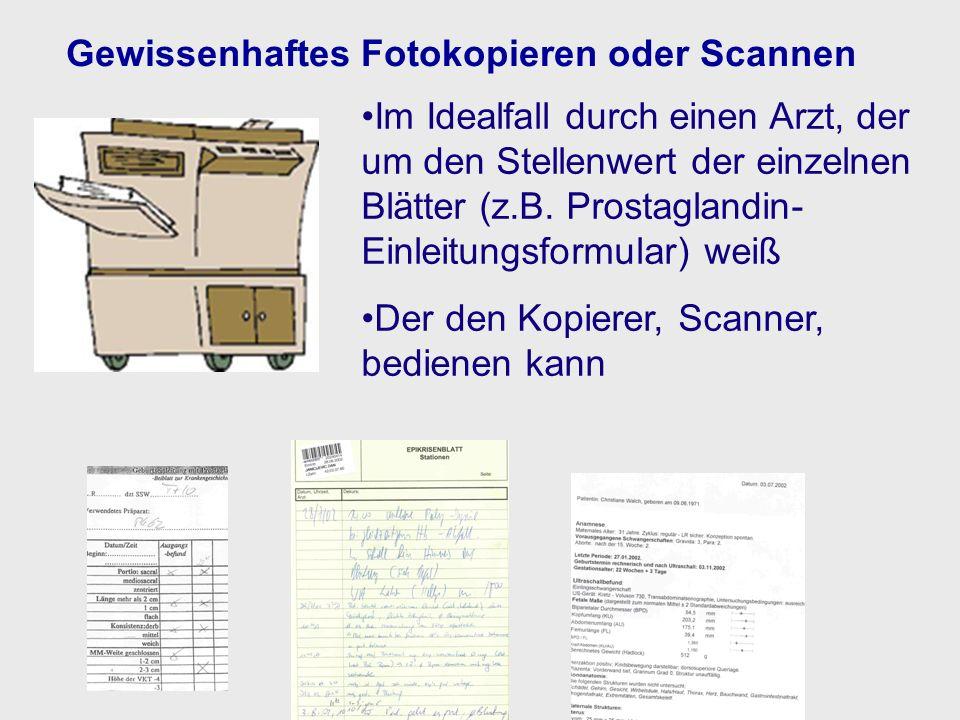 Gewissenhaftes Fotokopieren oder Scannen Im Idealfall durch einen Arzt, der um den Stellenwert der einzelnen Blätter (z.B. Prostaglandin- Einleitungsf