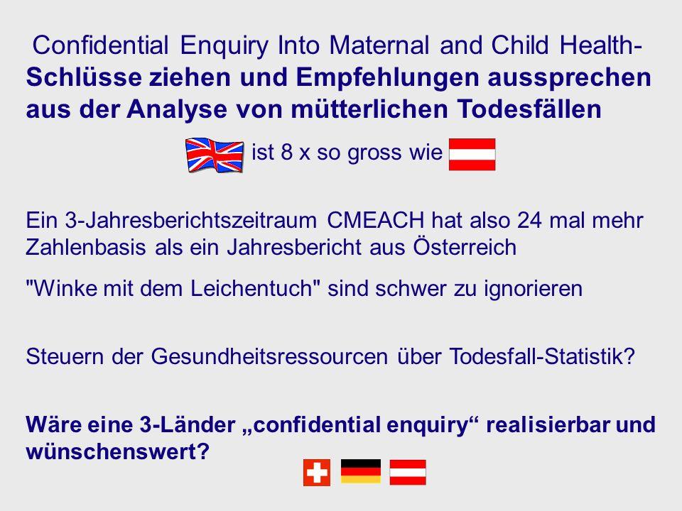 Confidential Enquiry Into Maternal and Child Health- Schlüsse ziehen und Empfehlungen aussprechen aus der Analyse von mütterlichen Todesfällen ist 8 x