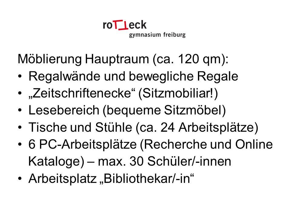 Möblierung Hauptraum (ca. 120 qm): Regalwände und bewegliche Regale Zeitschriftenecke (Sitzmobiliar!) Lesebereich (bequeme Sitzmöbel) Tische und Stühl