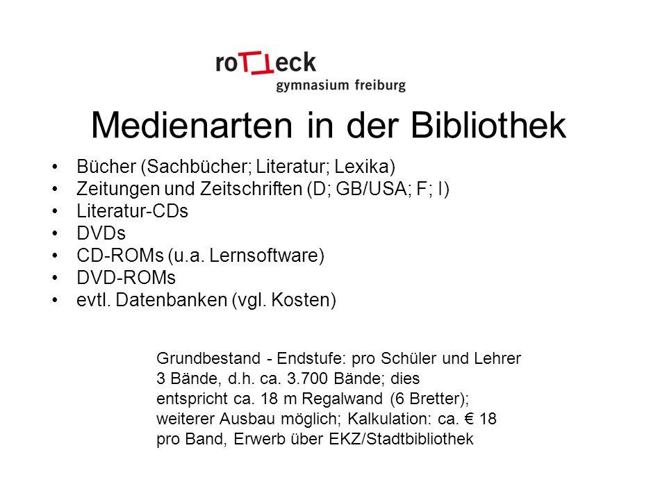 Medienarten in der Bibliothek Bücher (Sachbücher; Literatur; Lexika) Zeitungen und Zeitschriften (D; GB/USA; F; I) Literatur-CDs DVDs CD-ROMs (u.a.