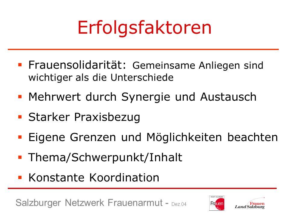 Salzburger Netzwerk Frauenarmut - Dez.04 Erfolgsfaktoren Frauensolidarität: Gemeinsame Anliegen sind wichtiger als die Unterschiede Mehrwert durch Syn