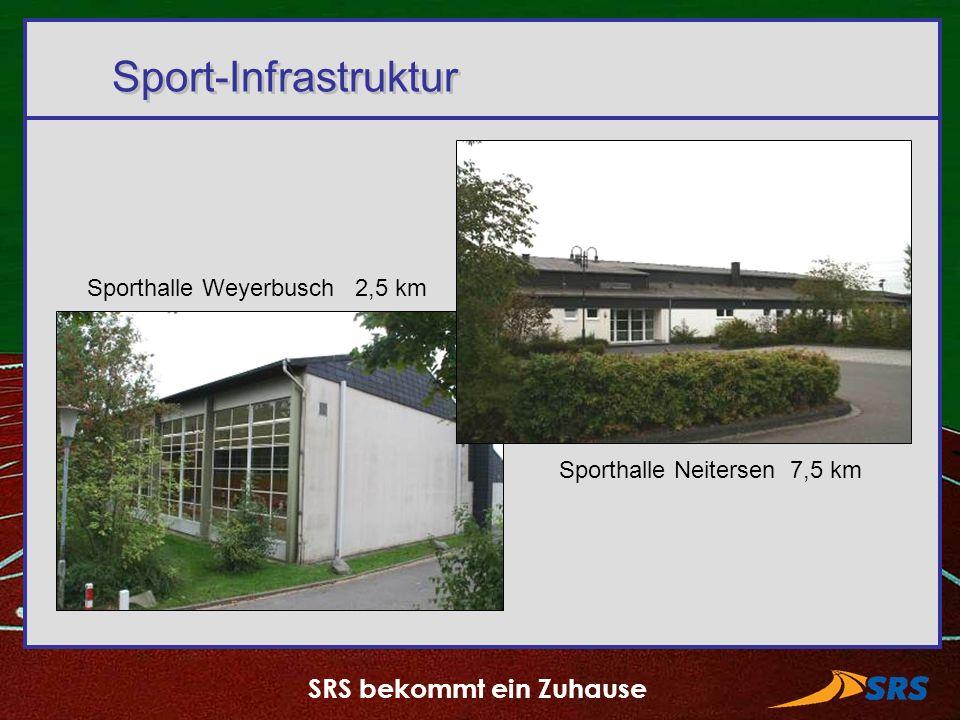 SRS bekommt ein Zuhause Sport-Infrastruktur Sporthalle Weyerbusch 2,5 km Sporthalle Neitersen 7,5 km