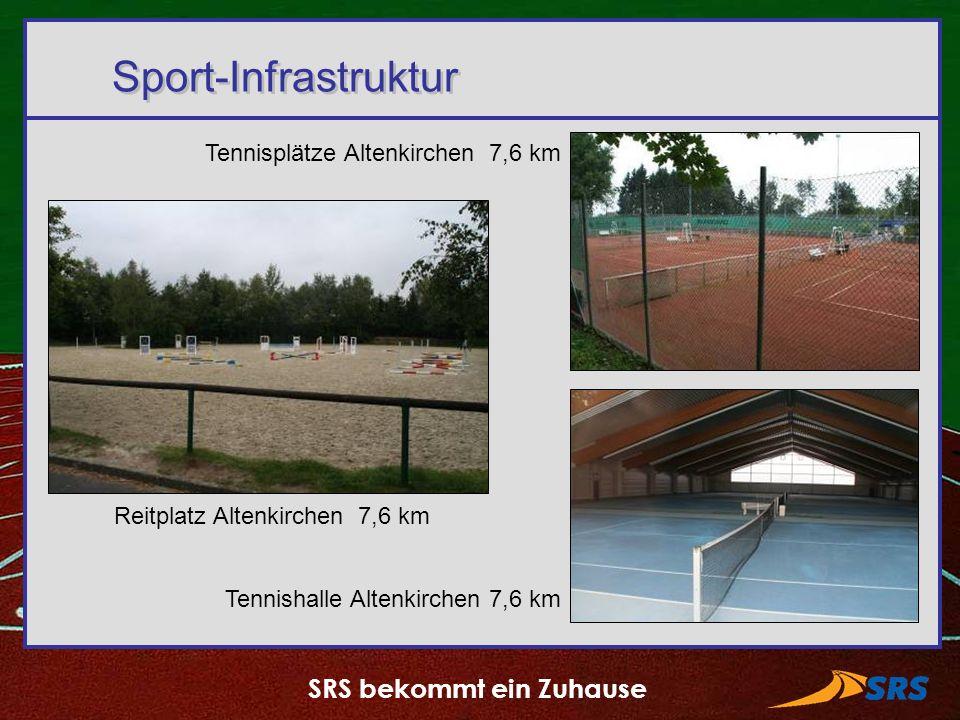 SRS bekommt ein Zuhause Sport-Infrastruktur Tennisplätze Altenkirchen 7,6 km Reitplatz Altenkirchen 7,6 km Tennishalle Altenkirchen 7,6 km