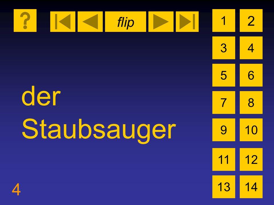 flip 4 1 3 2 4 5 7 6 8 910 1112 1314 der Staubsauger