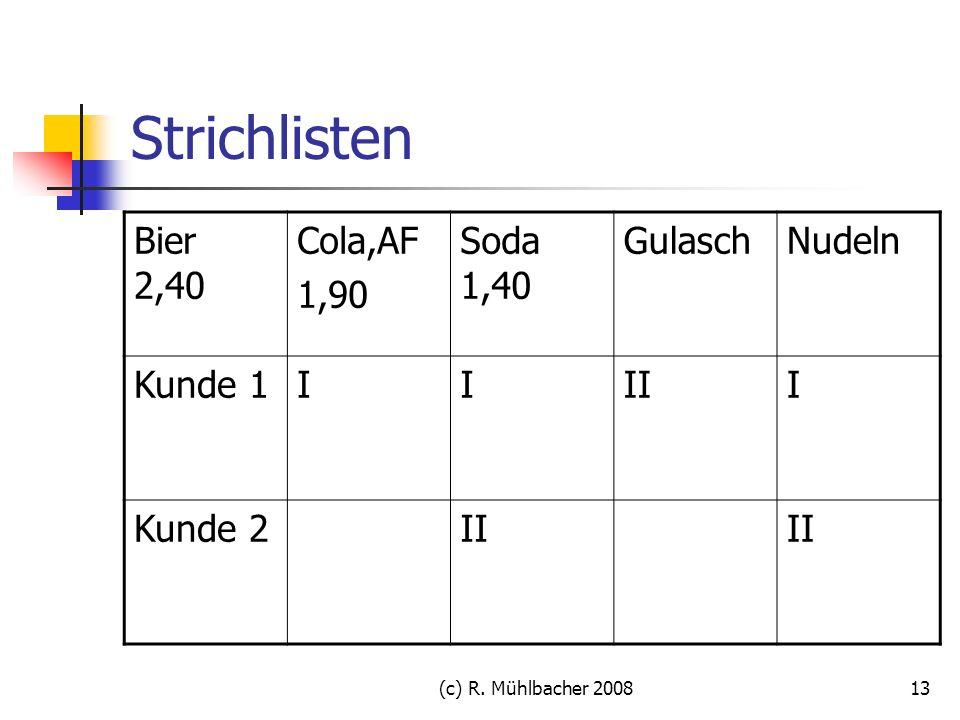 (c) R. Mühlbacher 200813 Strichlisten Bier 2,40 Cola,AF 1,90 Soda 1,40 GulaschNudeln Kunde 1IIIII Kunde 2II
