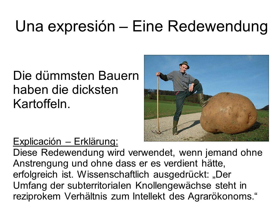 Una expresión – Eine Redewendung Die dümmsten Bauern haben die dicksten Kartoffeln. Explicación – Erklärung: Diese Redewendung wird verwendet, wenn je