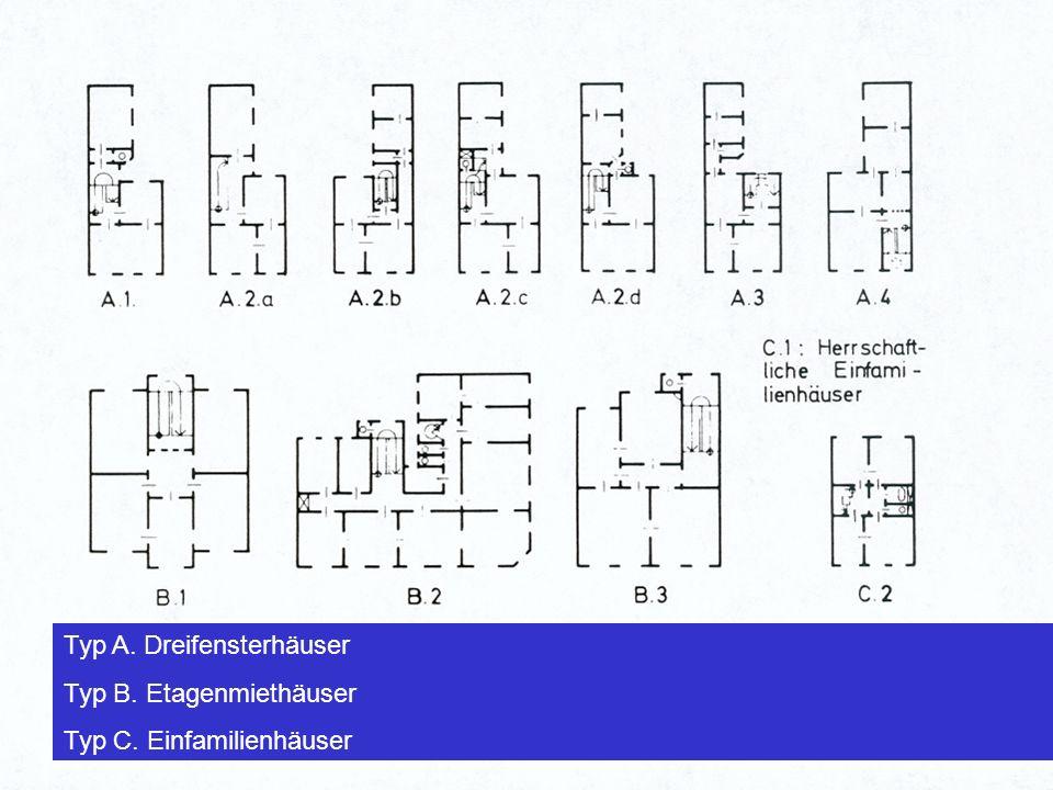 Häuser im Frankenberger Viertel Am Anfang standen im Frankenberger Viertel zwei ver- schiedene Haustypen: das 3-Fenster Haus und das größere klassizistische Haus mit dem in der Mittelachse liegenden Treppenhaus.