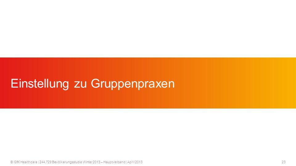 23 © GfK Healthcare   244.729 Bevölkerungsstudie Winter 2013 – Hauptverband   April 2013 Einstellung zu Gruppenpraxen