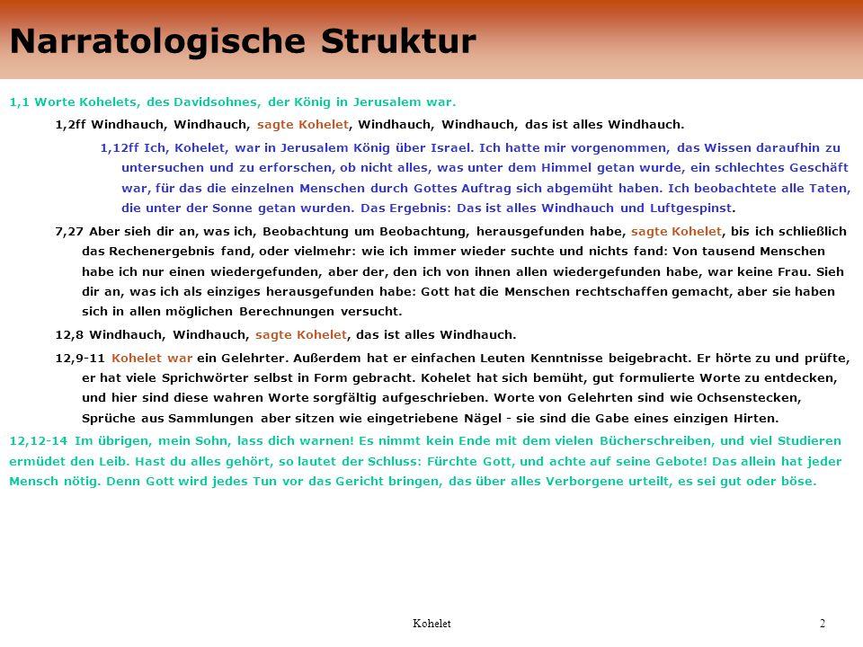 2 Narratologische Struktur 1,1 Worte Kohelets, des Davidsohnes, der König in Jerusalem war.
