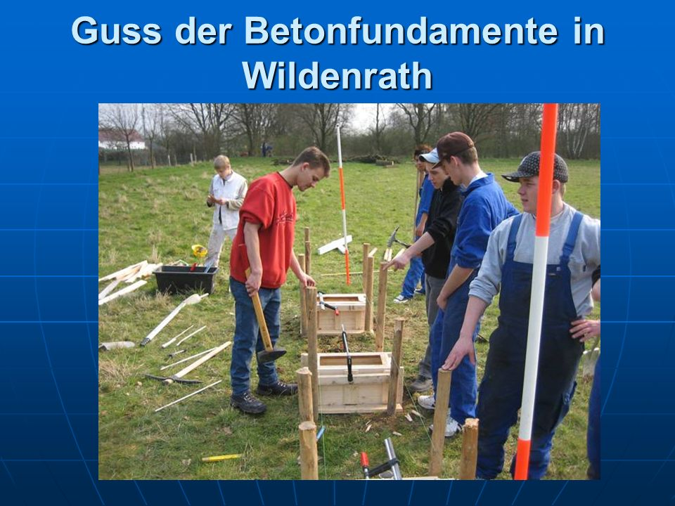 Guss der Betonfundamente in Wildenrath