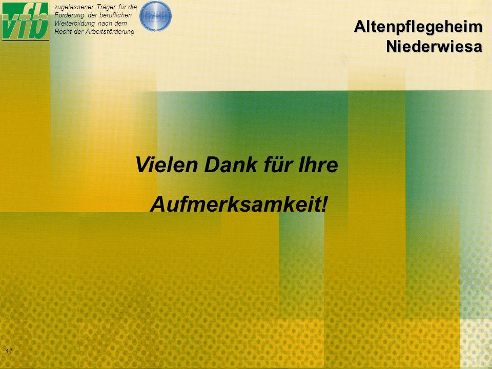 zugelassener Träger für die Förderung der beruflichen Weiterbildung nach dem Recht der Arbeitsförderung 11 Altenpflegeheim Niederwiesa Vielen Dank für Ihre Aufmerksamkeit!