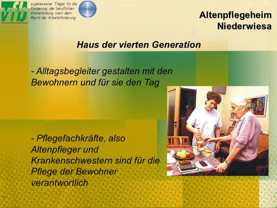 zugelassener Träger für die Förderung der beruflichen Weiterbildung nach dem Recht der Arbeitsförderung 7 Altenpflegeheim Niederwiesa - Pflegefachkräfte, also Altenpfleger und Krankenschwestern sind für die Pflege der Bewohner verantwortlich - Alltagsbegleiter gestalten mit den Bewohnern und für sie den Tag Haus der vierten Generation