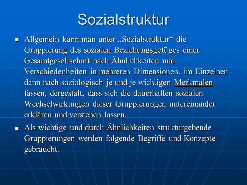Sozialstruktur Allgemein kann man unter Sozialstruktur die Gruppierung des sozialen Beziehungsgefüges einer Gesamtgesellschaft nach Ähnlichkeiten und