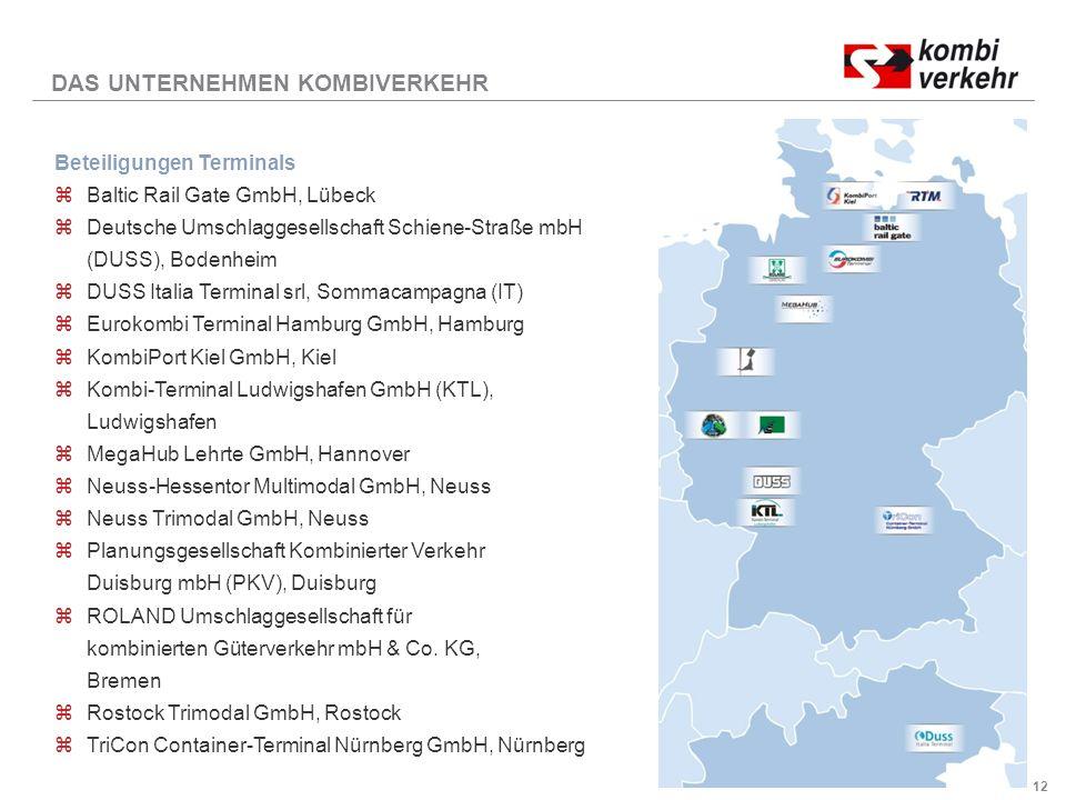 12 DAS UNTERNEHMEN KOMBIVERKEHR Beteiligungen Terminals zBaltic Rail Gate GmbH, Lübeck zDeutsche Umschlaggesellschaft Schiene-Straße mbH (DUSS), Bodenheim zDUSS Italia Terminal srl, Sommacampagna (IT) zEurokombi Terminal Hamburg GmbH, Hamburg zKombiPort Kiel GmbH, Kiel zKombi-Terminal Ludwigshafen GmbH (KTL), Ludwigshafen zMegaHub Lehrte GmbH, Hannover zNeuss-Hessentor Multimodal GmbH, Neuss zNeuss Trimodal GmbH, Neuss zPlanungsgesellschaft Kombinierter Verkehr Duisburg mbH (PKV), Duisburg zROLAND Umschlaggesellschaft für kombinierten Güterverkehr mbH & Co.