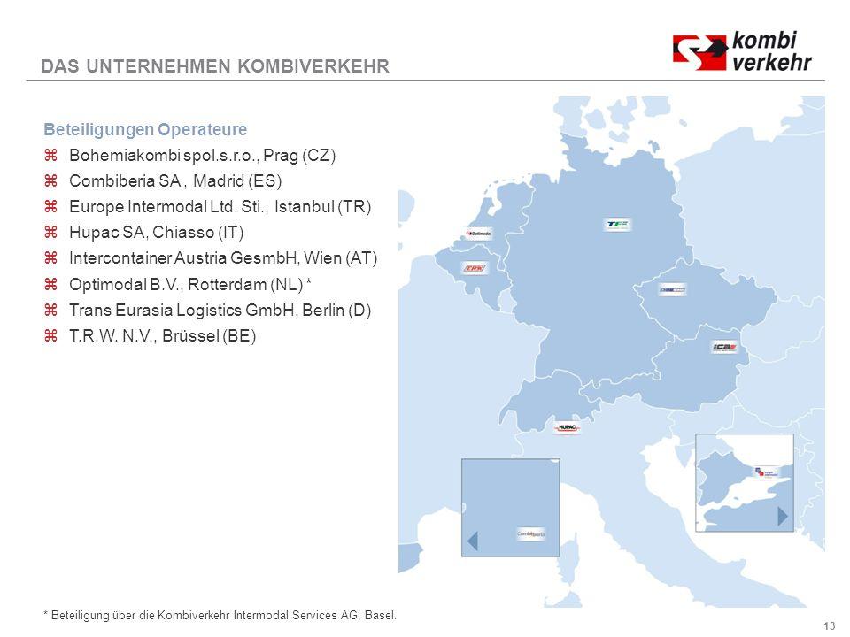 13 DAS UNTERNEHMEN KOMBIVERKEHR Beteiligungen Operateure zBohemiakombi spol.s.r.o., Prag (CZ) zCombiberia SA, Madrid (ES) zEurope Intermodal Ltd.