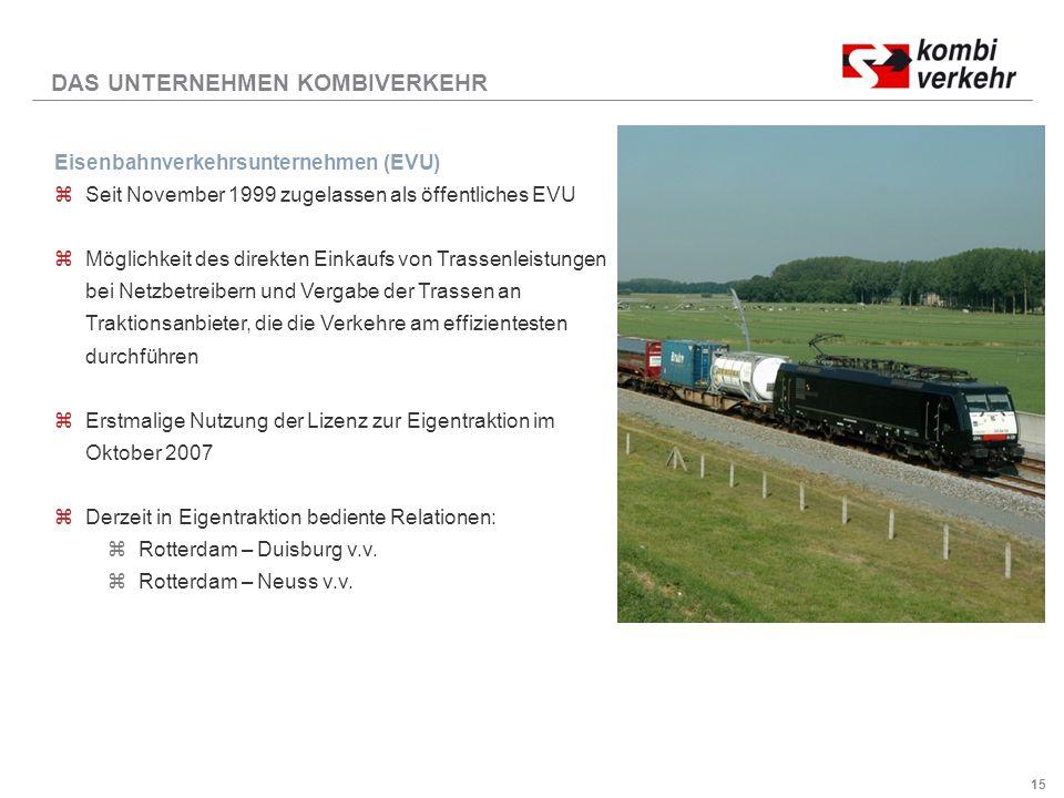 15 Eisenbahnverkehrsunternehmen (EVU) zSeit November 1999 zugelassen als öffentliches EVU zMöglichkeit des direkten Einkaufs von Trassenleistungen bei Netzbetreibern und Vergabe der Trassen an Traktionsanbieter, die die Verkehre am effizientesten durchführen zErstmalige Nutzung der Lizenz zur Eigentraktion im Oktober 2007 zDerzeit in Eigentraktion bediente Relationen: zRotterdam – Duisburg v.v.