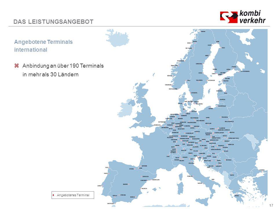 17 DAS LEISTUNGSANGEBOT Angebotene Terminals international zAnbindung an über 190 Terminals in mehr als 30 Ländern Angebotenes Terminal