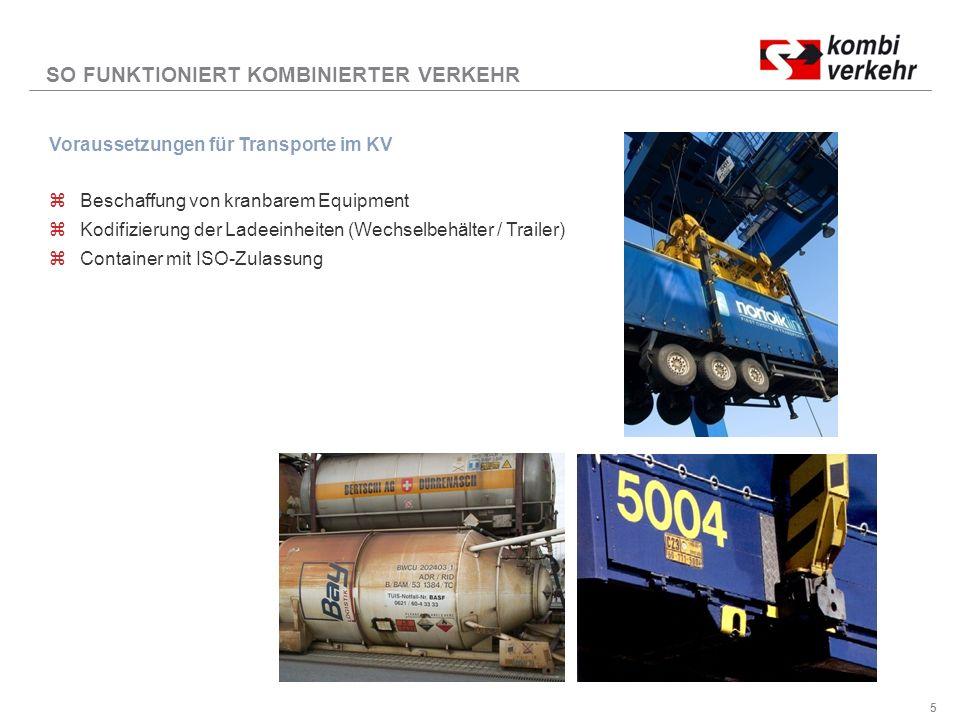 5 Voraussetzungen für Transporte im KV zBeschaffung von kranbarem Equipment zKodifizierung der Ladeeinheiten (Wechselbehälter / Trailer) zContainer mit ISO-Zulassung SO FUNKTIONIERT KOMBINIERTER VERKEHR