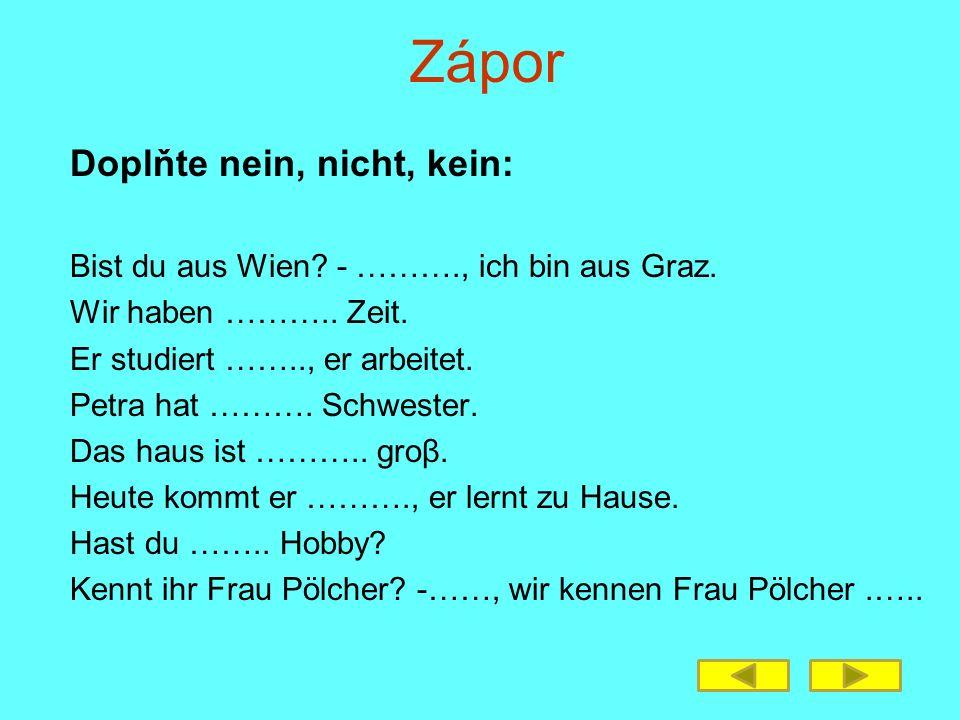Zápor Doplňte nein, nicht, kein: Bist du aus Wien? - ………., ich bin aus Graz. Wir haben ……….. Zeit. Er studiert …….., er arbeitet. Petra hat ………. Schwe