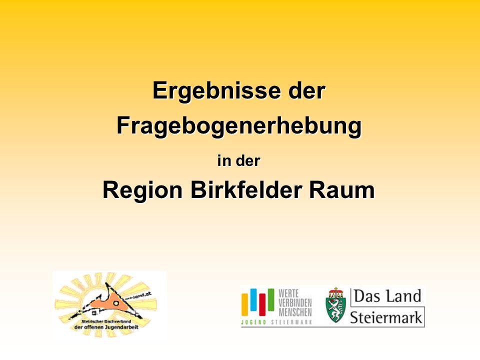 Ergebnisse der Fragebogenerhebung in der Region Birkfelder Raum