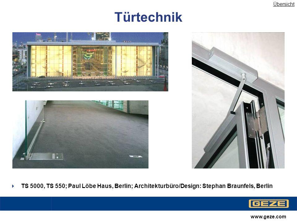 www.geze.com Automatische Türsysteme Slimdrive SL mit Schrägstellung; Sony Center-Berlin; Architekturbüro/Design: Murphy/Jahn, Berlin Übersicht
