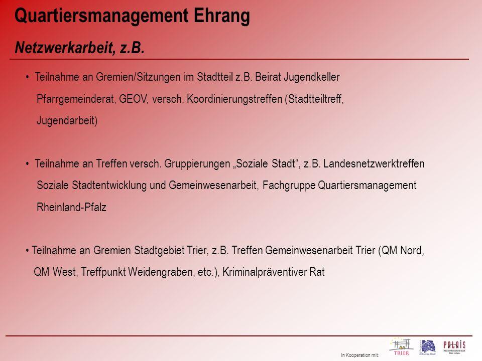 In Kooperation mit: Quartiersmanagement Ehrang Netzwerkarbeit, z.B. Teilnahme an Gremien/Sitzungen im Stadtteil z.B. Beirat Jugendkeller Pfarrgemeinde