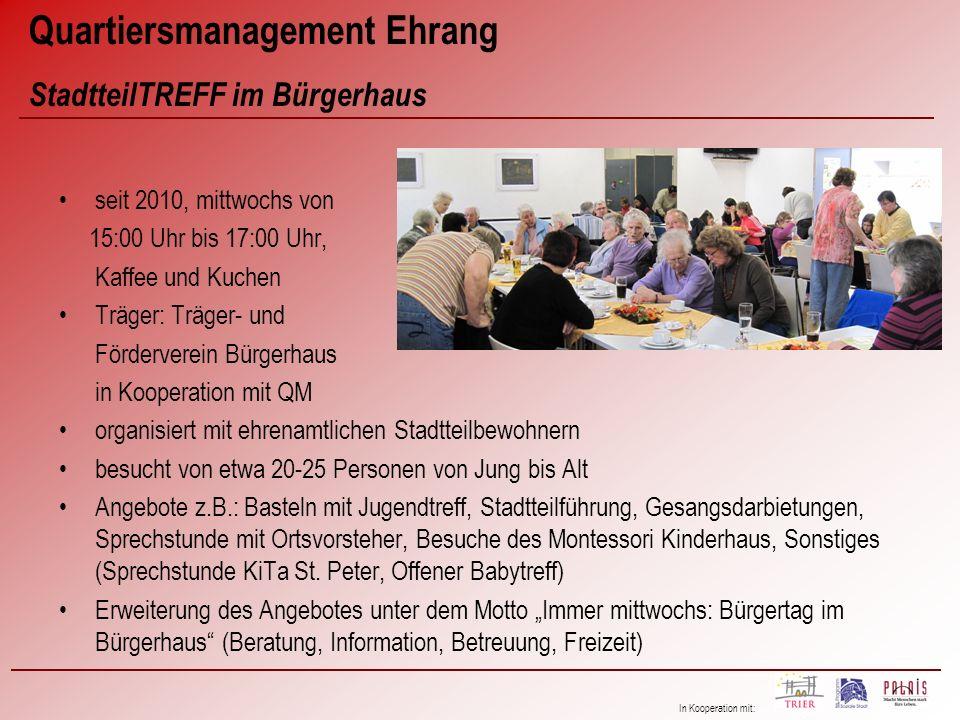 In Kooperation mit: seit 2010, mittwochs von 15:00 Uhr bis 17:00 Uhr, Kaffee und Kuchen Träger: Träger- und Förderverein Bürgerhaus in Kooperation mit