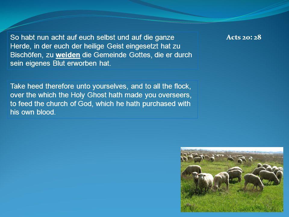 So habt nun acht auf euch selbst und auf die ganze Herde, in der euch der heilige Geist eingesetzt hat zu Bischöfen, zu weiden die Gemeinde Gottes, di