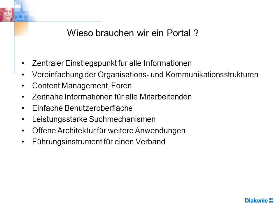 Wieso brauchen wir ein Portal ? Zentraler Einstiegspunkt für alle Informationen Vereinfachung der Organisations- und Kommunikationsstrukturen Content