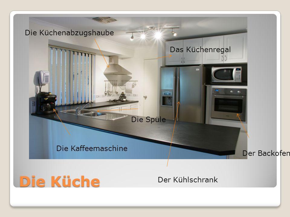 Die Küche Der Kühlschrank Die Kaffeemaschine Die Spüle Der Backofen Die Küchenabzugshaube Das Küchenregal