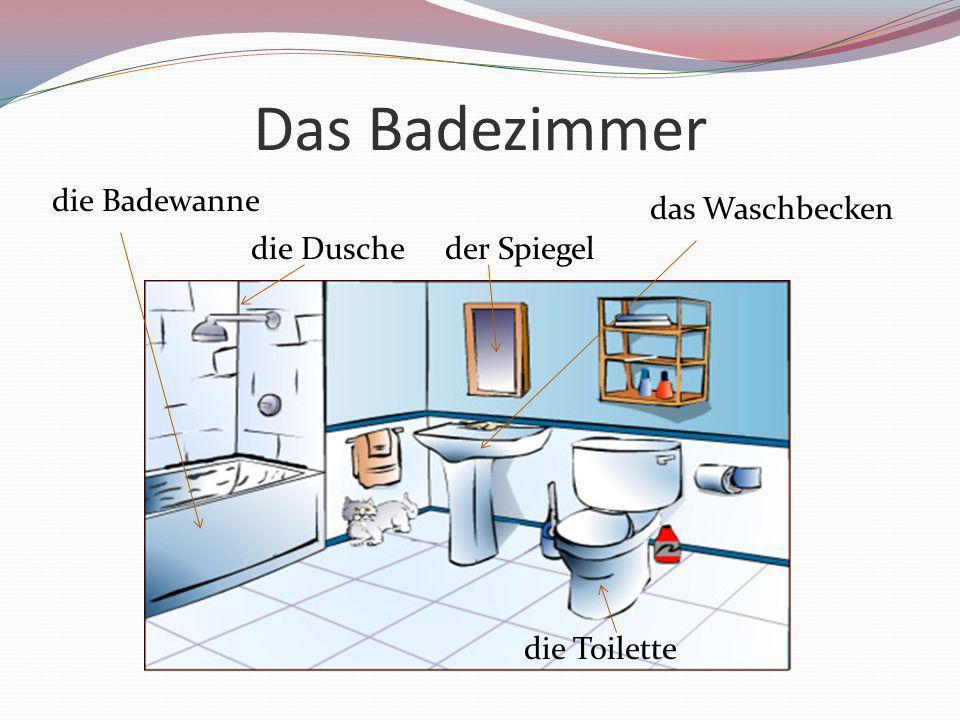 Das Badezimmer das Waschbecken die Badewanne die Toilette die Duscheder Spiegel