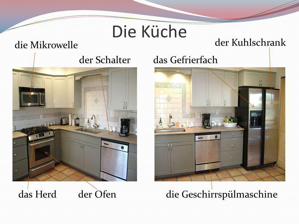 Die Küche die Mikrowelle das Herdder Ofendie Geschirrspülmaschine der Kuhlschrank das Gefrierfachder Schalter