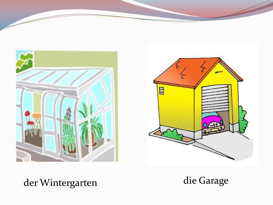 Teile des Hauses der Kamin das Fenster der Boden die Treppen die Decke die Wand der Stock/ die Etage