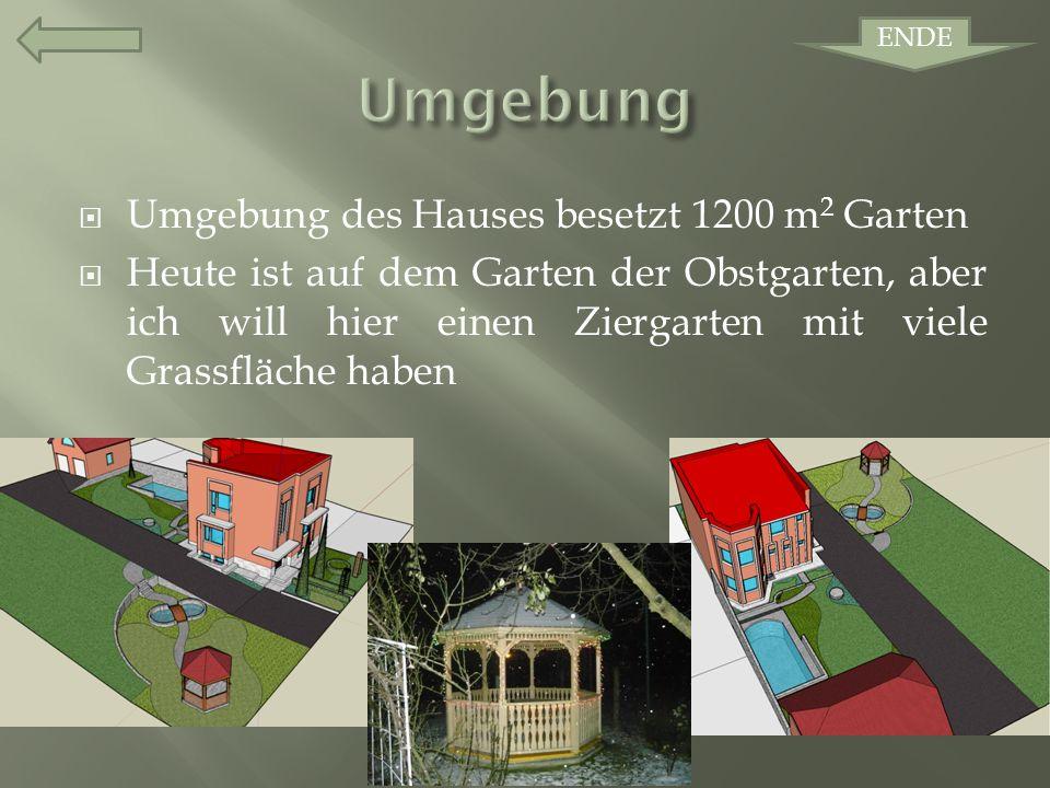 Umgebung des Hauses besetzt 1200 m 2 Garten Heute ist auf dem Garten der Obstgarten, aber ich will hier einen Ziergarten mit viele Grassfläche haben ENDE
