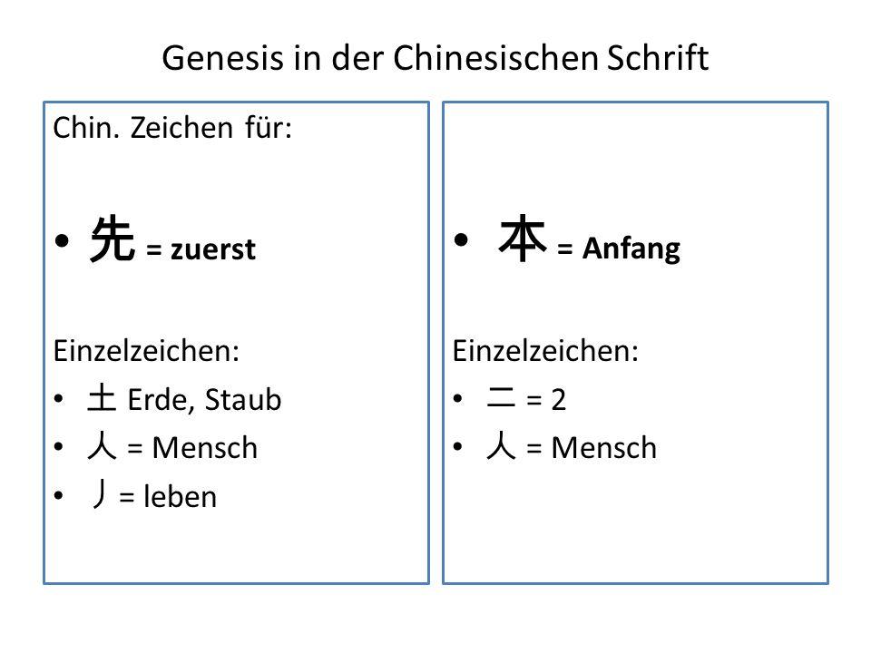 Genesis in der Chinesischen Schrift Chin. Zeichen für: = zuerst Einzelzeichen: Erde, Staub = Mensch = leben = Anfang Einzelzeichen: = 2 = Mensch