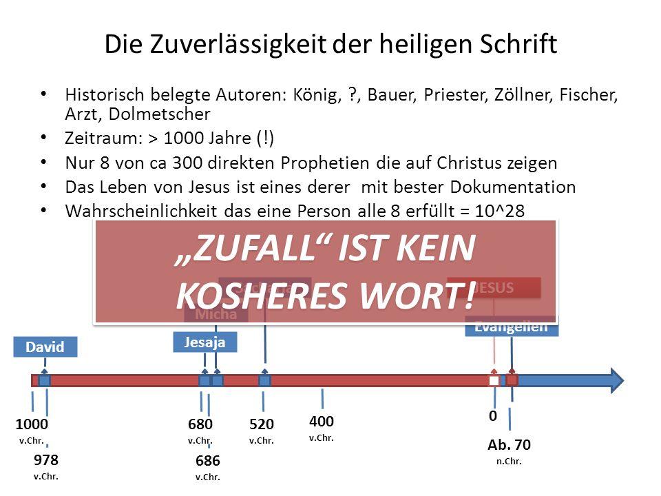 Sacharia Die Zuverlässigkeit der heiligen Schrift Historisch belegte Autoren: König, ?, Bauer, Priester, Zöllner, Fischer, Arzt, Dolmetscher Zeitraum: