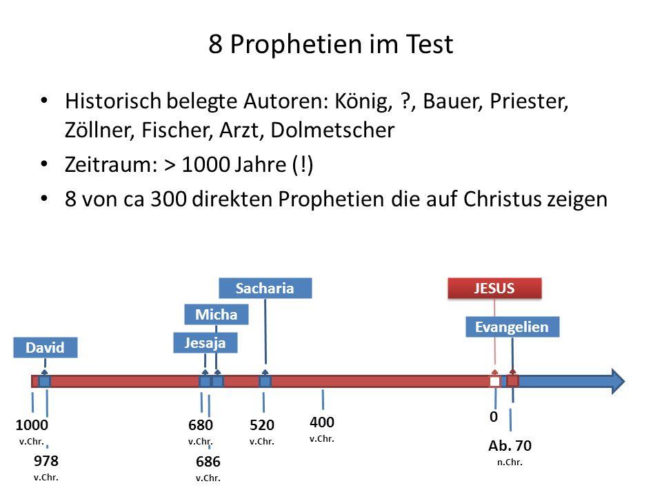 Sacharia 8 Prophetien im Test Historisch belegte Autoren: König, ?, Bauer, Priester, Zöllner, Fischer, Arzt, Dolmetscher Zeitraum: > 1000 Jahre (!) 8