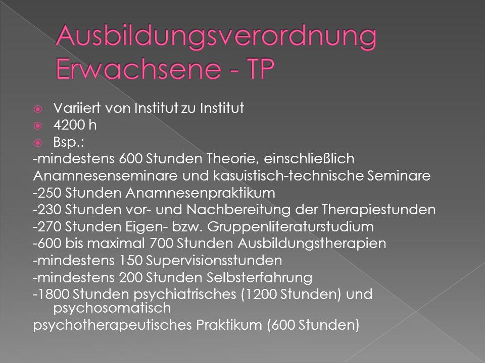 Variiert von Institut zu Institut 4200 h Bsp.: -mindestens 600 Stunden Theorie, einschließlich Anamnesenseminare und kasuistisch-technische Seminare -