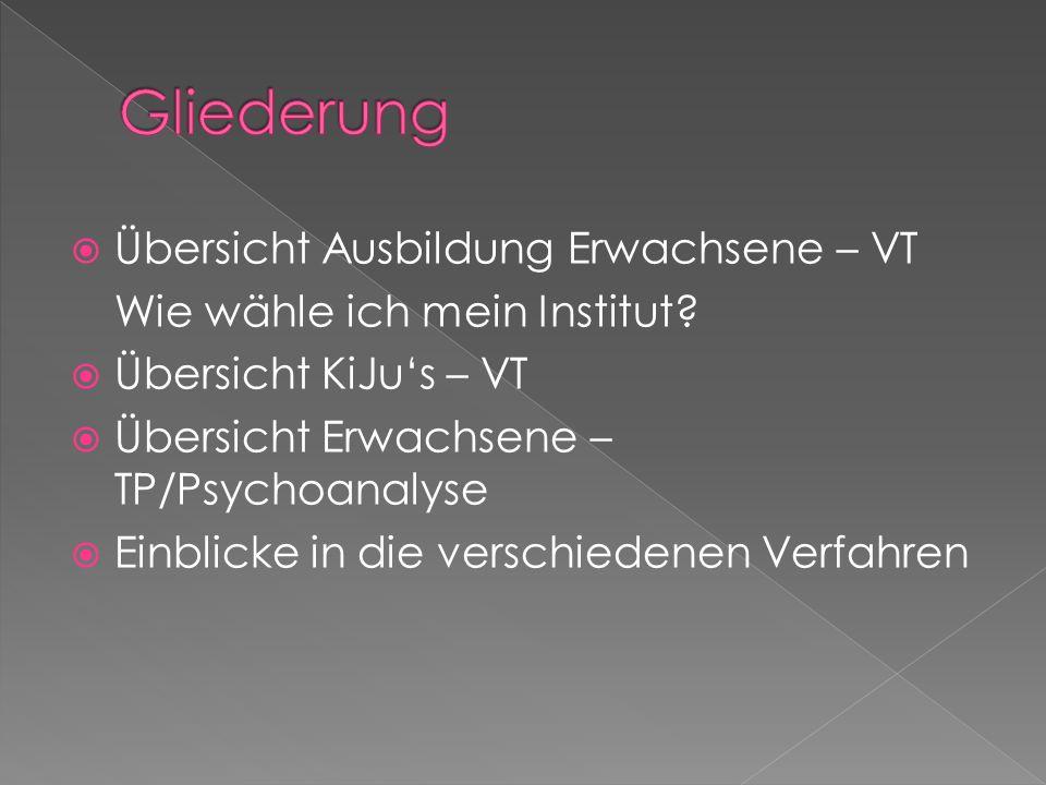 Übersicht Ausbildung Erwachsene – VT Wie wähle ich mein Institut? Übersicht KiJus – VT Übersicht Erwachsene – TP/Psychoanalyse Einblicke in die versch